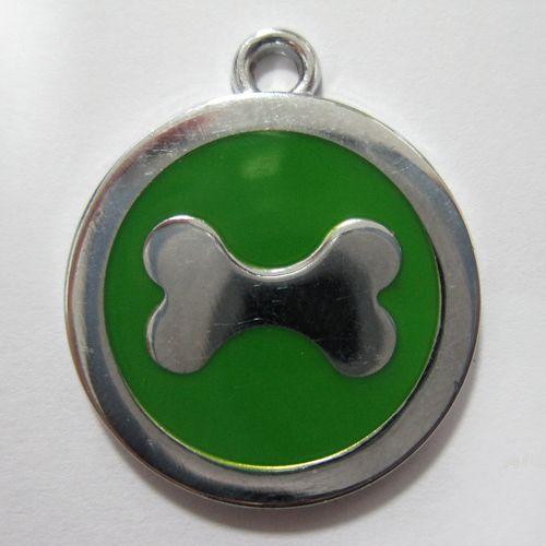 金屬-綠色狗骨頭寵物牌